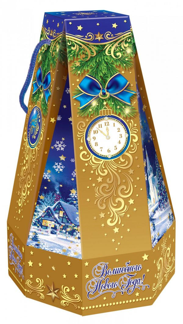 Колокол с часами синий